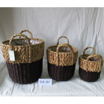 Round Woven Water Hyacinth Flower Pot
